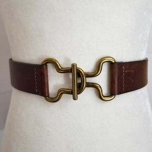 🤑 Brown Leather Belt Brass Buckle Limited